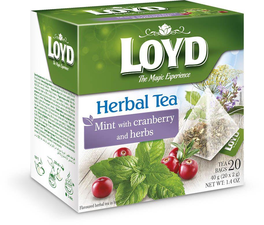 Чай в пирамидках Loyd, мята, клюква и травы, 2г*20шт